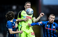 Bolton Wanderers' Ethan Hamilton (centre) competing with Rochdale's Luke Matheson (left) and Stephen Dooley <br /> <br /> Photographer Andrew Kearns/CameraSport<br /> <br /> The EFL Sky Bet League One - Rochdale v Bolton Wanderers - Saturday 11th January 2020 - Spotland Stadium - Rochdale<br /> <br /> World Copyright © 2020 CameraSport. All rights reserved. 43 Linden Ave. Countesthorpe. Leicester. England. LE8 5PG - Tel: +44 (0) 116 277 4147 - admin@camerasport.com - www.camerasport.com