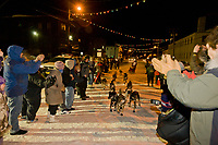 Lance Mackey arrives at the finish line in Nome in third place with a time of 61:39:05 for the 2008 All Alaska Sweepstakes sled dog race.