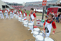 STAFF PHOTO ANTHONY REYES &bull; @NWATONYR<br /> Members of the University of Arkansas marching band drum line play Saturday, Sept. 6, 2014 for fans before the University of Arkansas football game against Nicholls State in lot 56 in Fayetteville. This is the first home game of the season and the Razorbacks hope to break a 10 game losing streak.