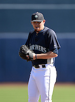 Seattle Mariners pitcher Zack Littell (47) during an Instructional League game on October 4, 2013 at Peoria Stadium in Peoria, Arizona.  (Mike Janes/Four Seam Images)