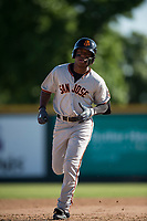 San Jose Giants second baseman Jalen Miller (2) rounds the bases after hitting a home run during a California League game against the Modesto Nuts at John Thurman Field on May 9, 2018 in Modesto, California. San Jose defeated Modesto 9-5. (Zachary Lucy/Four Seam Images)