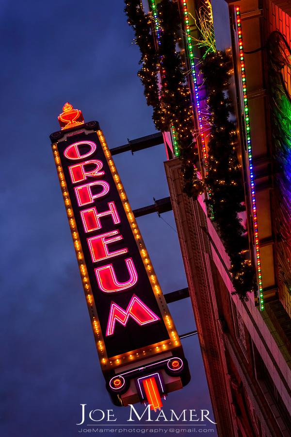 The historic Orpheum Theater sign  in Minneapolis, MN.