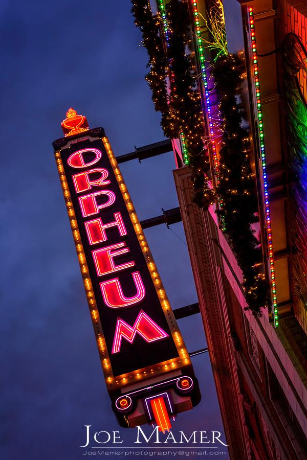 The historic Orpheum Theater sign  in Minneapolis, MN.