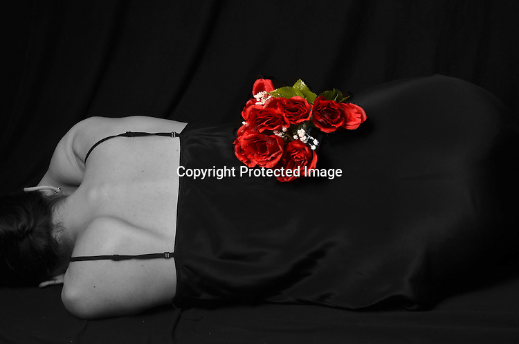Woman in Black with Roses