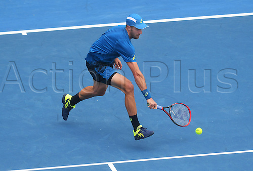 12.01.2017. ASB Tennis Centre, Auckland, New Zealand. ASB Classic Tennis, Day 13. USA's Steve Johnson during his quarter final singles match at the ASB Classic. Johnson won his match.