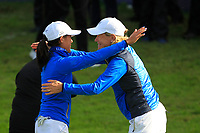 Celine Boutier (EUR) wins on the 17th green during Day 3 Singles at the Solheim Cup 2019, Gleneagles Golf CLub, Auchterarder, Perthshire, Scotland. 15/09/2019.<br /> Picture Thos Caffrey / Golffile.ie<br /> <br /> All photo usage must carry mandatory copyright credit (© Golffile | Thos Caffrey)