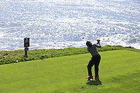 Arizona Cardinals wide receiver Larry Fitzgerald tees off the 8th tee at Pebble Beach Golf Links during Saturday's Round 3 of the 2017 AT&amp;T Pebble Beach Pro-Am held over 3 courses, Pebble Beach, Spyglass Hill and Monterey Penninsula Country Club, Monterey, California, USA. 11th February 2017.<br /> Picture: Eoin Clarke | Golffile<br /> <br /> <br /> All photos usage must carry mandatory copyright credit (&copy; Golffile | Eoin Clarke)