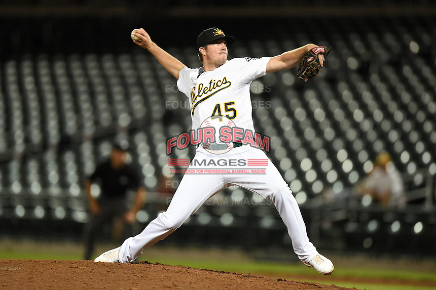 Mesa Solar Sox pitcher Austin House (45) during an Arizona Fall League game against the Salt River Rafters on October 18, 2014 at Cubs Park in Mesa, Arizona.  Mesa defeated Salt River 8-4.  (Mike Janes/Four Seam Images)