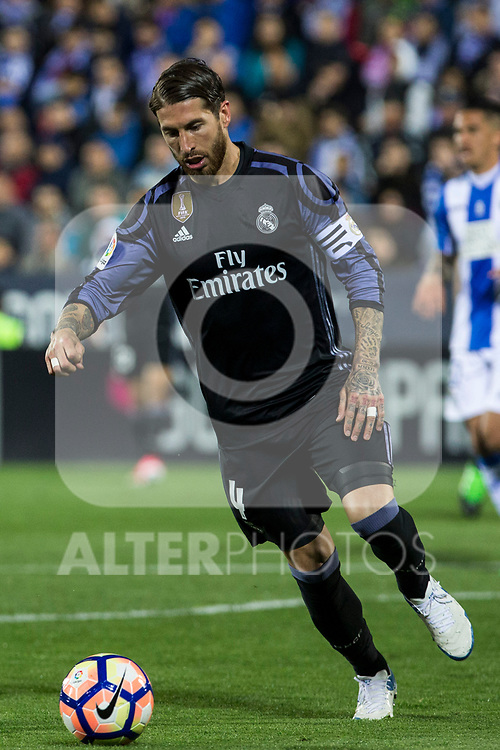 Sergio Ramos of Real Madrid during the match of  La Liga between Club Deportivo Leganes and Real Madrid at Butarque Stadium  in Leganes, Spain. April 05, 2017. (ALTERPHOTOS / Rodrigo Jimenez)