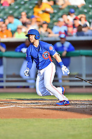 Tennessee Smokies catcher Ian Rice (5) swings at a pitch during a game against the Mobile BayBears at Smokies Stadium on June 2, 2018 in Kodak, Tennessee. The BayBears defeated the Smokies 1-0. (Tony Farlow/Four Seam Images)