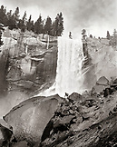 USA, California, Yosemite National Park, hiking in a rock garden in front of Vernal Falls (B&W)