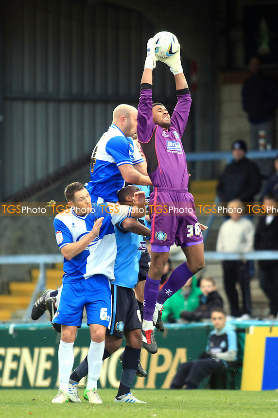 Wycombe's Jordan Archer makes a fine save to foil a Bristol Rovers attack - Wycombe Wanderers vs Bristol Rovers - NPower League Two Football at Adam Park, High Wycombe - 01/12/12 - MANDATORY CREDIT: Paul Dennis/TGSPHOTO - Self billing applies where appropriate - 0845 094 6026 - contact@tgsphoto.co.uk - NO UNPAID USE.