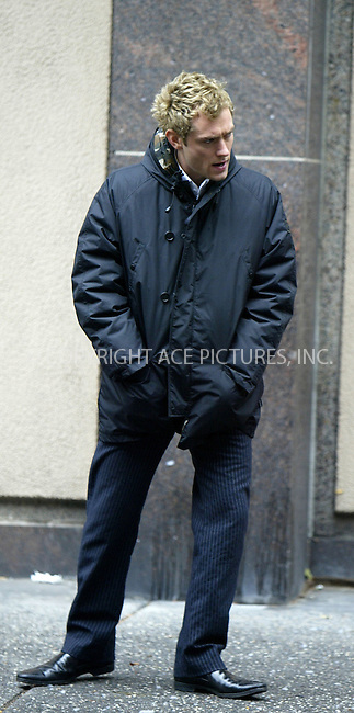 Jude Law on the film set of Charles Shyer's remake of 'Alfie' in New York City. November 17 2003. Please byline: NY Photo Press.   ..*PAY-PER-USE*      ....NY Photo Press:  ..phone (646) 267-6913;   ..e-mail: info@nyphotopress.com