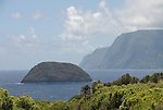 Hawaii: Molokai, scenic cliffs and ocean at Kalawao, seafins..Photo himolo101-71878..Photo copyright Lee Foster, www.fostertravel.com, lee@fostertravel.com, 510-549-2202