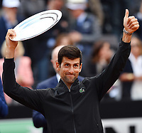 Novak Djokovic of Serbia waves after the Men's final match played against Rafael Nadal of Spain. Rafael Nadal won 6-0, 4-6, 6-1 <br /> Roma 19/05/2019 Foro Italico  <br /> Internazionali BNL D'Italia Italian Open <br /> Photo Andrea Staccioli / Insidefoto