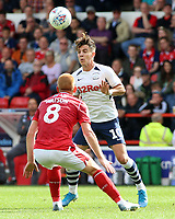 Preston North End's Josh Harrop heads away from Nottingham Forest's Ben Watson<br /> <br /> Photographer David Shipman/CameraSport<br /> <br /> The EFL Sky Bet Championship - Nottingham Forest v Preston North End - Saturday 31st August 2019 - The City Ground - Nottingham<br /> <br /> World Copyright © 2019 CameraSport. All rights reserved. 43 Linden Ave. Countesthorpe. Leicester. England. LE8 5PG - Tel: +44 (0) 116 277 4147 - admin@camerasport.com - www.camerasport.com
