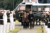United States President Bill Clinton and first lady Hillary Rodham Clinton greet President Fernando Henrique Cardoso of Brazil and his wife, Ruth Leite, as they arrive at Camp David, the presidential retreat near Thurmont, Maryland on June 7, 1998.<br /> Mandatory Credit: Sharon Farmer / White House via CNP