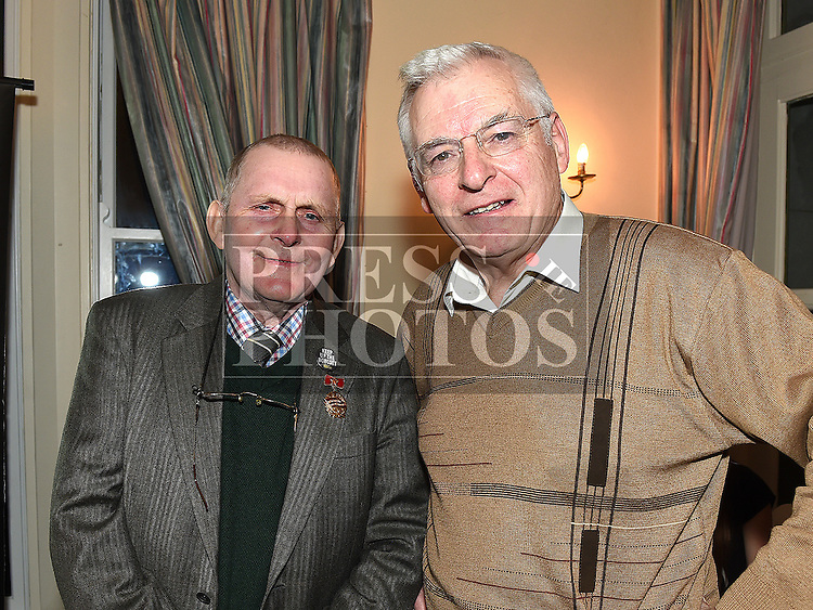 Frank Gallagher pictured with Socialist Party TD Joe Higgins in the Boyne Valley hotel. Photo:Colin Bell/pressphotos.ie