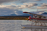 De havilland beaver along the shore of Naknek lake in Katmai National Park, southwest, Alaska.