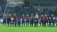 CARY, NC - DECEMBER 13: Stanford University's Starting XI are introduced during a game between Stanford and Georgetown at Sahlen's Stadium at WakeMed Soccer Park on December 13, 2019 in Cary, North Carolina.