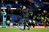 25th February 2020; Stamford Bridge, London, England; UEFA Champions League Football, Chelsea versus Bayern Munich; A very disappointed Chelsea Manager Frank Lampard applauding the Chelsea fans after full time