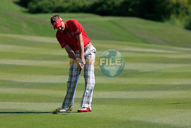 Ian Poulter (ENG) plays his 2nd shot on the 9th hole during the morning session on Day 3 of the Volvo World Match Play Championship in Finca Cortesin, Casares, Spain, 21st May 2011. (Photo Eoin Clarke/Golffile 2011)