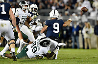 STATE COLLEGE, PA - OCTOBER 13: Michigan State NT Raequan Williams (99) hits Penn State QB Trace McSorley (9) as he throws. The Michigan State Spartans defeated the Penn State Nittany Lions 21-17 on October 13, 2018 at Beaver Stadium in State College, PA. (Photo by Randy Litzinger/Icon Sportswire)