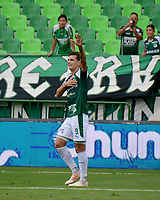 PALMIRA - COLOMBIA, 02-09-2019: Juan Ignacio Dinenno del Cali celebra después de anotar el tercer gol de su equipo durante partido entre Deportivo Cali y Deportivo Pasto por la fecha 9 de la Liga Águila II 2019 jugado en el estadio Deportivo Cali de la ciudad de Palmira. / Juan Ignacio Dinenno of Cali celebrates after scoring the third goal of his team during match between Deportivo Cali and Deportivo Pasto for the date 9 as part Aguila League II 2019 played at Deportivo Cali stadium in Palmira city. Photo: VizzorImage / Nelson Rios / Cont