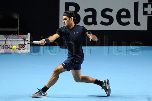 30.10.2015. Basel, Switzerland. Basel Swiss Indoor Tennis Championships. Day Six Roger Federer in action in the match between Roger Federer of Switzerland and David Goffin of Belgium