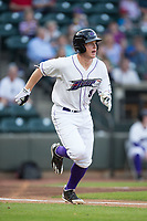 Zack Collins (8) of the Winston-Salem Dash hustles down the first base line against the Buies Creek Astros at BB&T Ballpark on April 13, 2017 in Winston-Salem, North Carolina.  The Dash defeated the Astros 7-1.  (Brian Westerholt/Four Seam Images)