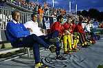 28 September 2013: Fort Lauderdale head coach Gunter Kronsteiner (AUT) (left) with assistant coach Raoul Voss (GER) (2nd from left). The Carolina RailHawks played the Fort Lauderdale Strikers at WakeMed Stadium in Cary, North Carolina in a North American Soccer League Fall 2013 Season regular season game. Carolina won the game 2-0.