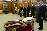 30.07.2012. King Juan Carlos I of Spain attends the promise of the President of the Court of Auditors, Ramon Alvarez de Miranda Garcia, at the Royal Palace of La Zarzuela. In the image (L-R) Ramon Alvarez de Miranda Garcia, Gonzalo Moliner Tamborero, President Supreme Tribunal, Pio Garcia Escudero, Senate President, Mariano Rajoy Brey, President of governancy, King Juan Carlos and Alberto Ruiz Gallardon, Minister of Justice (Alterphotos/Marta Gonzalez) *NortePhoto.com<br />