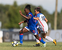 Bradenton, FL - Sunday, June 10, 2018: Melchie Dumonay, Sunshine Fontes during a U-17 Women's Championship match between the United States and Haiti at IMG Academy.  USA defeated Haiti 3-2 to advance to the finals.