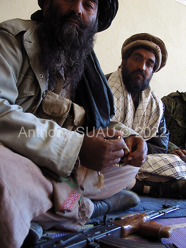 Maidan Shaher , Afghanistan<br /> November 24, 2001<br /> <br /> Northern Alliance and former Taliban meeting for peace in the region.