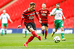 LONDON, ENGLAND - MARCH 29: Jay Harris of Wrexham scores his team's second goal against North Ferriby United to make it 0-2 during the FA Carlsberg Trophy Final 2015 at Wembley Stadium on March 29, 2054 in London, England. (Photo by Dacid Horn/EAP)