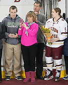Checking out the new Patty Kaz banner - Brendan, Julie and Bobby Carpenter, Alex Carpenter (BC - 5) - The Boston College Eagles defeated the visiting Providence College Friars 7-1 on Friday, February 19, 2016, at Kelley Rink in Conte Forum in Boston, Massachusetts.