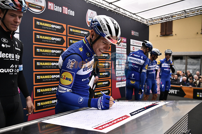 Philippe Gilbert (BEL) Deceuninck-Quick Step at sign on before the start of the world's oldest classic the 100th edition of Milano-Torino running 179km from Magenta to the Basilica at Superga in Turin, Italy. 9th Octobre 2019. <br /> Picture: Marco Alpozzi/LaPresse | Cyclefile<br /> <br /> All photos usage must carry mandatory copyright credit (© Cyclefile | LaPresse/Marco Alpozzi)