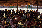 Catete village, Brazil. Meeting in the men's hut; Xicrin-Kayapo, Para State. Introduction.