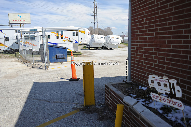 Great Lakes, one of a handful of RV dealerships still in business on Nappannee Street in Elkhart, Indiana on April 8, 2009. The city has seen a dramatic increase in unemployment in the last year from 4.5% to 20% as RV dealerships and manufacturers shed jobs with the onset of the global economic recession and the precarious nature of the American auto and housing markets.