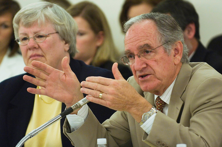 "WASHINGTON, DC - Nov. 1: Senate Appropriations Labor HHS Subcommittee Chairman Tom Harkin, D-Iowa, during the House-Senate appropriations conference. The appropriators agreed on a spending package Thursday that includes funding for health, education and veterans' programs but not the Pentagon in a gamble Democrats are hoping will persuade Republicans to support more funding than President Bush has requested. The conference agreement includes $150.7 billion in discretionary spending for the Labor-HHS-Education bill (HR 3043) and $64.7 billion in such funding in the Military Construction-VA measure (HR 2642). House Appropriations Chairman David R. Obey said he decided Wednesday night not to include the Defense bill (HR 3222) as part of the package after Republicans strongly objected to its inclusion. He said he wanted to show Democrats are ""serious about compromise."" (Photo by Scott J. Ferrell/Congressional Quarterly)."