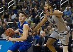 South Dakota State guard Alex Arians (34) drives against Nevada's Caleb Martin (10) in the second half of an NCAA college basketball game in Reno, Nev., Saturday, Dec. 15, 2018. (AP Photo/Tom R. Smedes)