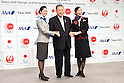 (L-R) ANA, Yoshiro Mori, JAL, <br /> JUNE 15, 2015 : <br /> JAL and ANA has Press conference in Tokyo. <br /> JAL and ANA announced that it has entered into a partnership agreement with the Tokyo Organising Committee of the Olympic and Paralympic Games. With this agreement, JAL and ANA becomes the official partner. <br /> (Photo by AFLO SPORT)