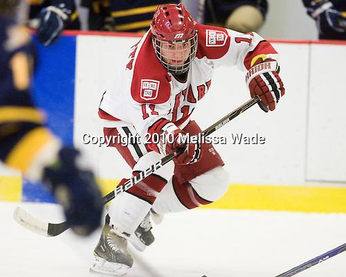 Daniel Moriarty (Harvard - 11) - The visiting Quinnipiac University Bobcats defeated the Harvard University Crimson 3-1 on Wednesday, December 8, 2010, at Bright Hockey Center in Cambridge, Massachusetts.