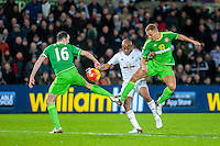 Andre Ayew of Swansea ( centre )   in action during the Barclays Premier League match between Swansea City and Sunderland played at the Liberty Stadium, Swansea  on  January the 13th 2016