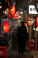 "Omoide Yokocho or Welcome Alley is a collection of small rough built bars and izakaya restaurants in a small alley in Shinjuku. Popular with salarymen or Japanese office workers it also has the nickname ""Piss Alley"" due to its down at heal appearance. Recently some basic and needed  redevelopment has made the area popular with couples and tourists looking for somewhere with a little character to have a drink. Shinjuku, Tokyo, Japan. Thursday, May 15th 2008"
