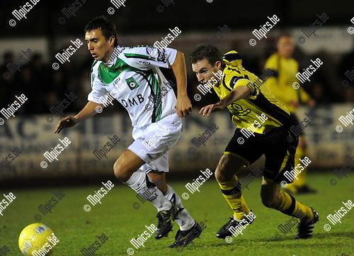 2010-10-27 / Voetbal / seizoen 2010-2011 / Beker Van België / KFC Lille - Cercle Brugge / Arnar Vidarsson (Cercle) wordt belaagd door Maarten Sas..Foto: Mpics