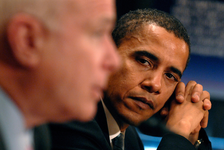 "Sen. Barack Obama, D-Ill., right, listens to Sen. John McCain, R-Ariz., testify at a hearing on the ""Federal Funding Accountability and Transparency Act of 2006,"" which requires full disclosure of all entities and organizations receiving federal funds."