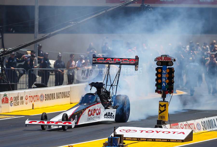 Jul 30, 2017; Sonoma, CA, USA; NHRA top fuel driver Steve Torrence during the Sonoma Nationals at Sonoma Raceway. Mandatory Credit: Mark J. Rebilas-USA TODAY Sports