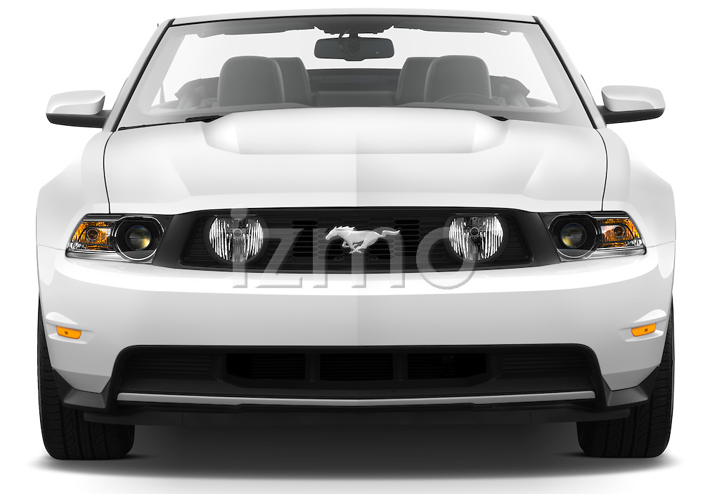 Straight front view of a 2011 ford mustang gt premium convertible.