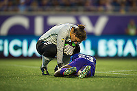 Orlando, FL - Saturday July 16, 2016: Michele Dalton, Jasmyne Spencer during a regular season National Women's Soccer League (NWSL) match between the Orlando Pride and the Chicago Red Stars at Camping World Stadium.